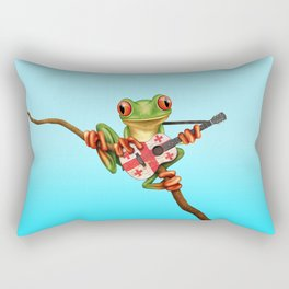 Tree Frog Playing Acoustic Guitar with Flag of Georgia Rectangular Pillow