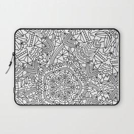 Detailed Mandala Frenzy Black and White Laptop Sleeve