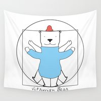 fitness Wall Tapestries featuring Vitruvian Bear by General Design Studio