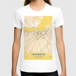 Inverness Yellow City Map T-shirt