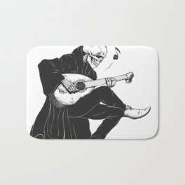 Minstrel playing guitar,grim reaper musician cartoon,gothic skull,medieval skeleton,death poet illus Bath Mat