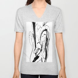 Plant in Blue Marker - Leaf of Life Miracle Leaf - Black and White Unisex V-Neck