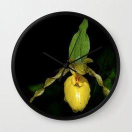 Lady Slipper Yellow Orchid 4 Wall Clock