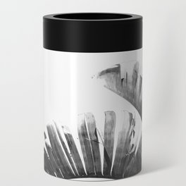 Palm leaves black and white tropical watercolor Can Cooler