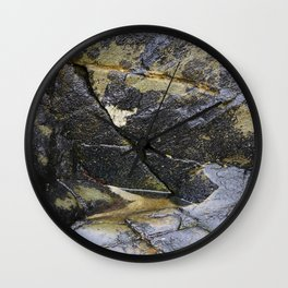 Reflective Rock Surface with Lichen Texture Wall Clock
