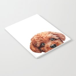 Toy poodle red brown Dog illustration original painting print Notebook