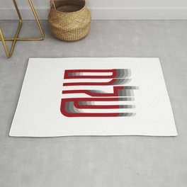 Shalom Hebrew Typographic Art in Red Rug