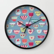 China Teacups on Teal Wall Clock