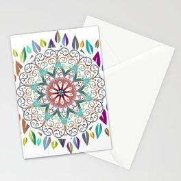 Colourful Leaves Mandala Design On White Stationery Cards