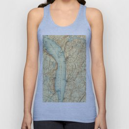 Vintage Map of Tarrytown NY & The Hudson River Unisex Tank Top