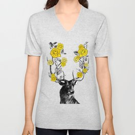 The Stag and Roses | Deer and Flowers | Yellow | Vintage Stag | Vintage Deer | Antlers | Woodland | Unisex V-Neck