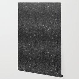 Modern chic elegant trendy faux black glitter Wallpaper