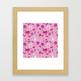 Pink, Purple, & Puppies Framed Art Print