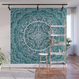 Detailed Teal and Blue Mandala Pattern Wall Mural