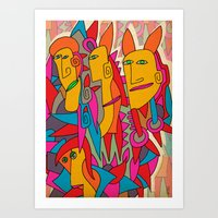 rabbits Art Prints featuring - rabbits - by Magdalla Del Fresto