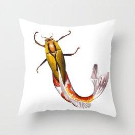Mer-Bug - Beetle and Koi Creature - Digital Art Throw Pillow