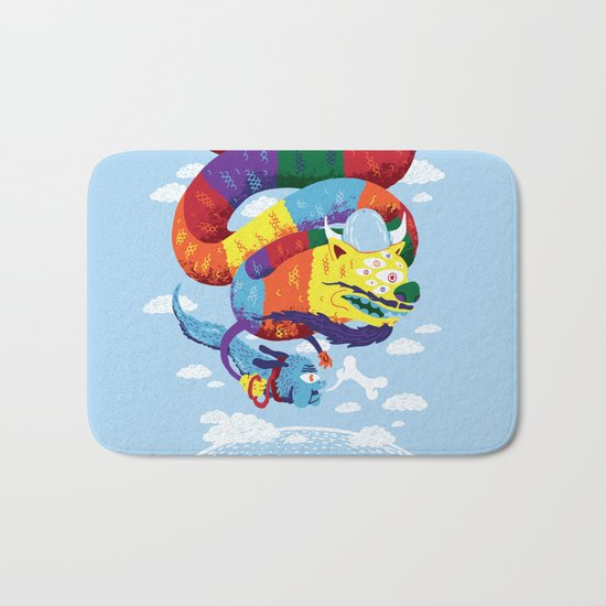 Stan, the Forgotten Luckdragon, and His Italian Skydog Skeletori Bath Mat
