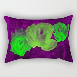 Triple Modern Roses With Stripes Rectangular Pillow