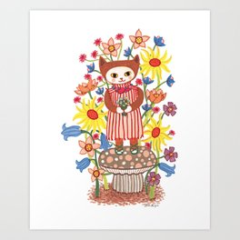Flower Cat Art Print
