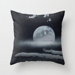 moon-lit ocean Throw Pillow