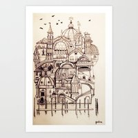 venice Art Prints featuring Venice by Justine Lecouffe