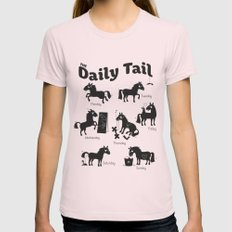 The Daily Tail Horse Womens Fitted Tee MEDIUM Light Pink