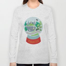 Manhattan souvenir, snow globe, NYC, New York CIty Long Sleeve T-shirt