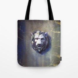 Lion head Black Marble Tote Bag