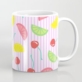 Retro Fruit Salad in Pink + White Seersucker Coffee Mug