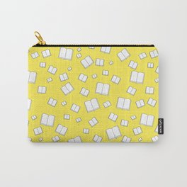 Sunny Yellow Flying Books Pattern Carry-All Pouch
