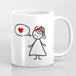 cute lovely black white red stick figure girl and speech bubble with heart Coffee Mug