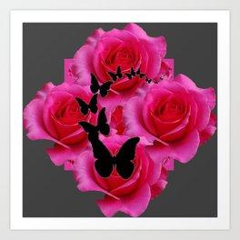 BLACK BUTTERFLIES FUCHSIA ROSES GREY ART Art Print