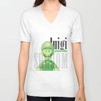 luigi V-neck T-shirts featuring Luigi by Thomas Official