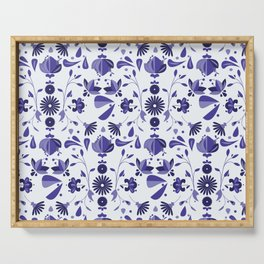 Blue Flower Bohoo Pattern Serving Tray