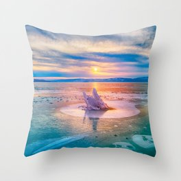 The Strange Ice Circle of Baikal Throw Pillow