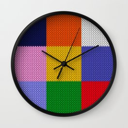 Knitted colorful squares Wall Clock