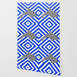 Dolphin - abstract geometric pattern - blue and white. Wallpaper