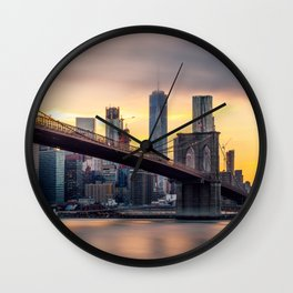 Brooklyn Bridge and Lower Manhattan at Sunset with Low Clouds Wall Clock