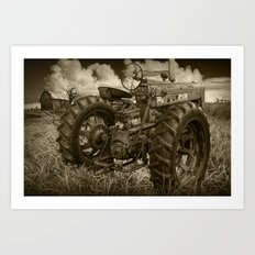Abandoned Old Farmall Tractor in Sepia Tone Art Print