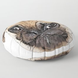 Pug physically distinctive features wrinkly short-muzzled curled tail Floor Pillow