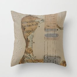 vintage sheet music on electric guitar Throw Pillow