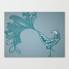 Blue and Silver Bird Canvas Print