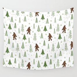 trees + yeti pattern in color Wall Tapestry