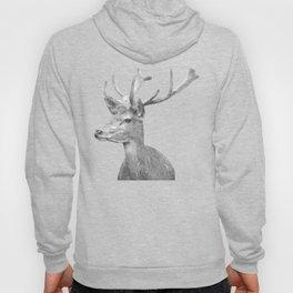 Black and white deer animal portrait Hoody