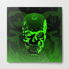 Gamer Skull CARTOON GREEN / 3D render of cyborg head Metal Print
