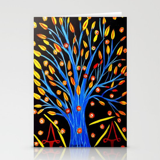 Blue tree/abstract Stationery Cards