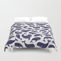moby Duvet Covers featuring Moby Dick - White by Drivis