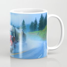 Driving Rain IV - Highway Truck in Rainstorm Artwork Coffee Mug