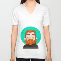 ginger V-neck T-shirts featuring Ginger by caridibuja