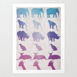Retro Animals Art Print